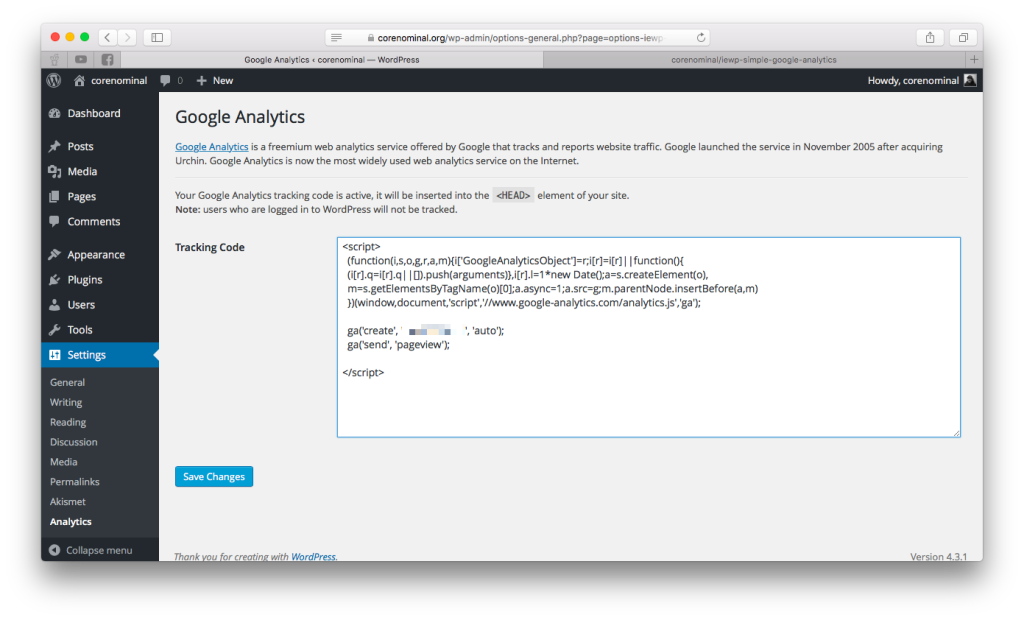 Screenshot of Simple Google Analytics plugin admin page.