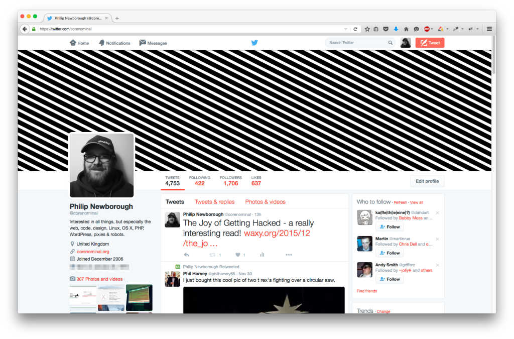 Screenshot of my current Twitter profile page.