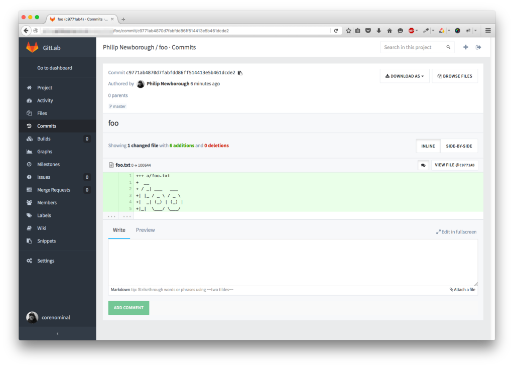 Screenshot of GitLab running in Firefox.