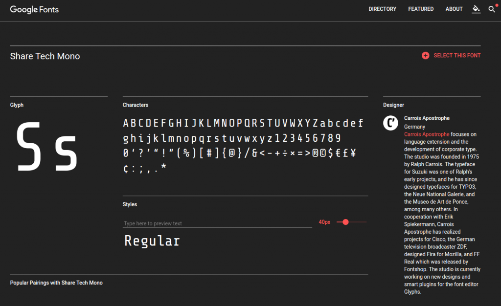 Screenshot of Google Fonts website